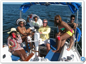 Ladies having fun with Capt. Dave
